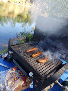 shore lunch on lower sacramento river trout fishing guide trip